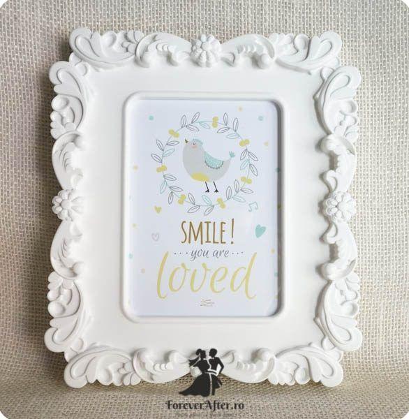 Rama cu mesaj Smile, you are loved   Accesorii nunta - Mesaje   ForeverAfter.ro