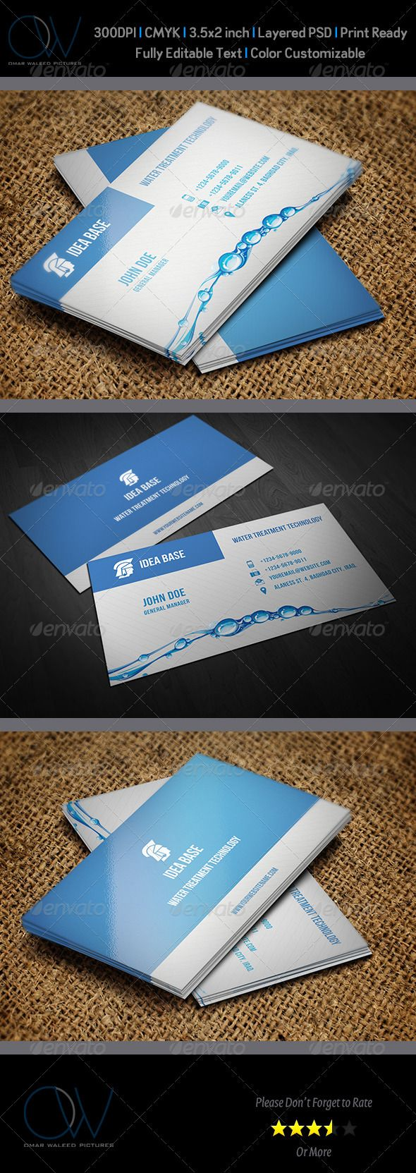 Water Technology Business Card — Photoshop PSD #visiting card #card • Available here → https://graphicriver.net/item/water-technology-business-card/3517608?ref=pxcr