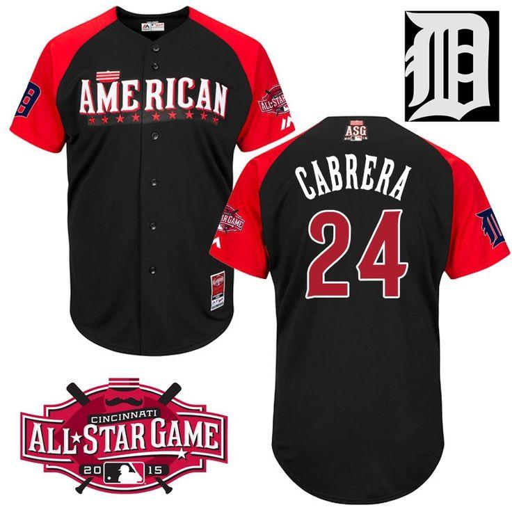 2015 All Star Detroit Tigers Mens Jerseys American League #24 Miguel Cabrera Black BP Baseball Jersey 4664