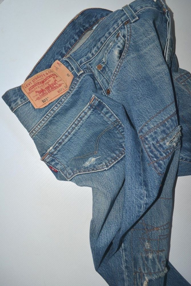 1fe4f5c0 new mens LEVI'S 501 reworked rare biker SLIM STRAIGHT LEG Jeans size W32 L32