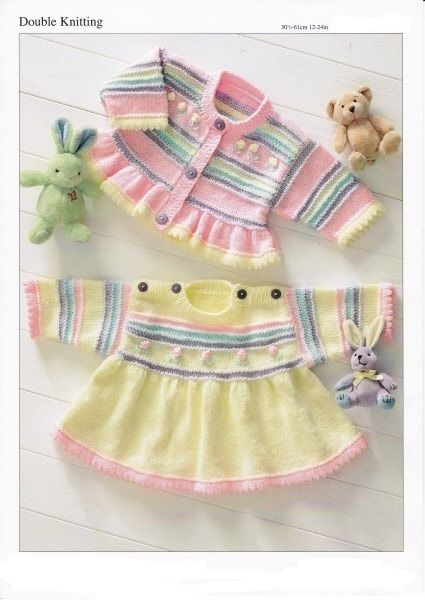 Knitting Pattern to knit a lovely girls outfit - prem/reborn /small baby - 4 yrs
