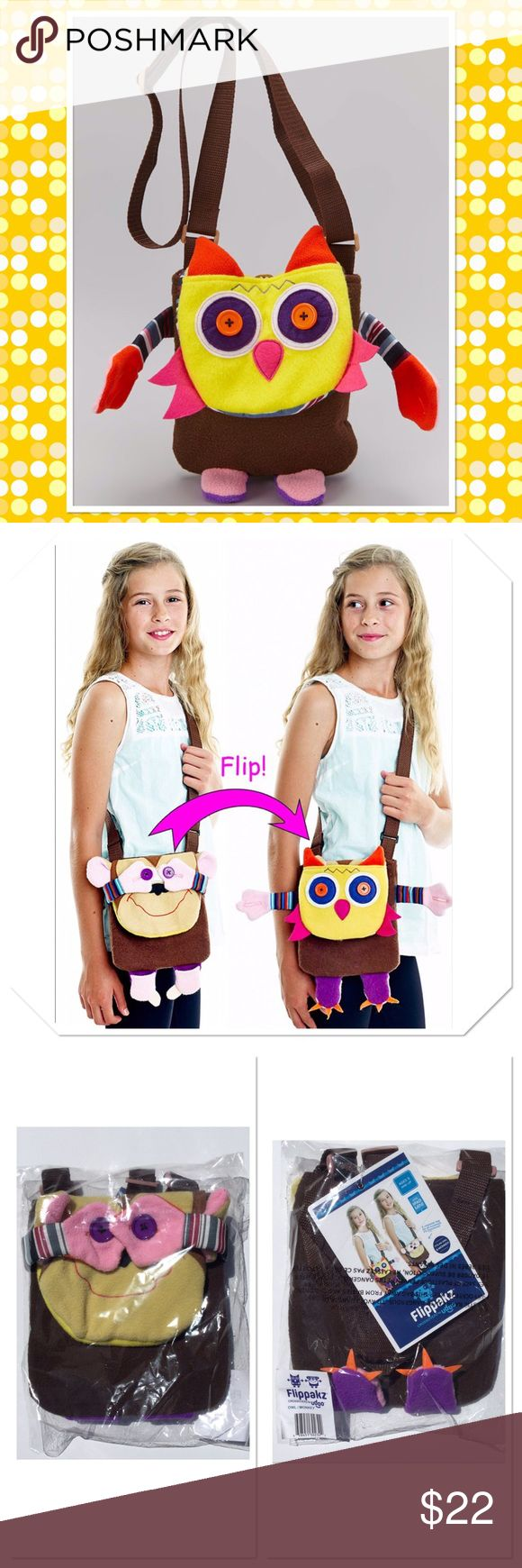 "Owl & Monkey Crossover Flippakz Bag This fun convertible messenger bag goes from one critter to another in a flash, while the adjustable strap adds carrying convenience. 7.5"" W x 8"" L, strap 1"" W x 50"" L, 100% Polyester Boutique Accessories Bags"