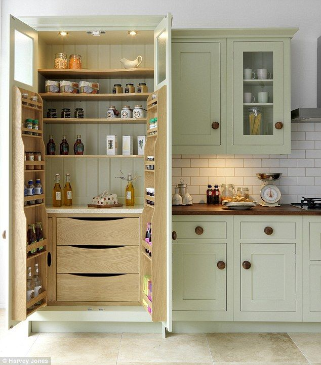 Pack it in: Larders like this one by Harvey Jones offer heaps of storage space for all your cooking ingredients
