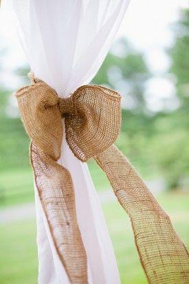 Burlap Wedding Tent Ties 275x412 Loudoun County Farm Wedding Reception: Stacy + Howard