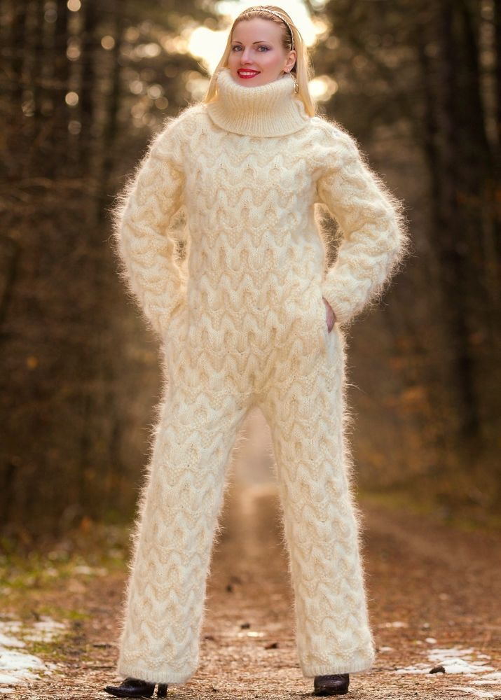 Ivory Hand Knit Mohair Sweater Fuzzy Handgestrickte Catsuit By Supertanya S M L Catsuit