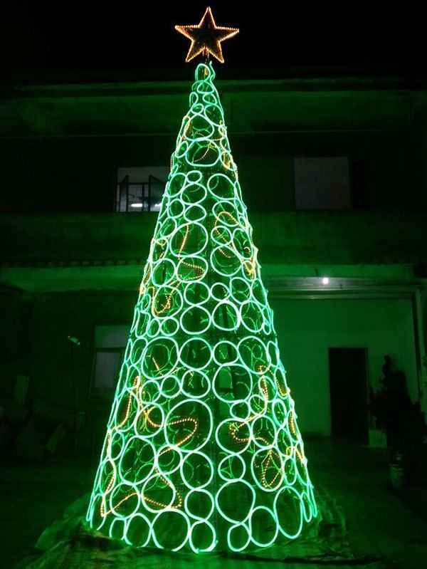 Outdoor Large Green Light Neon Christmas Tree