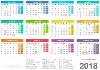 Kalender 2018 mit Feiertagen - PDF-Vorlage 2