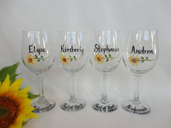 Hand Painted Personalized Sunflower Bridal Party Wine Glasses - Gift Wrapping Available