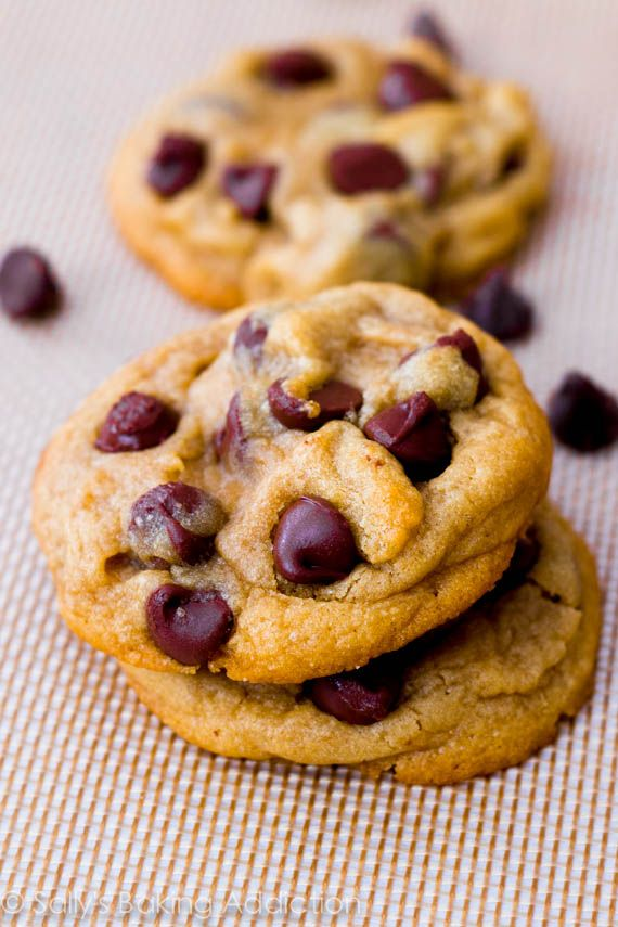 Soft-baked chocolate chip perfection. One of my favorite recipes - ever! The cornstarch is the secret.