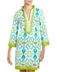Gabby Beaded Neck Ikat Dress, Turquoise