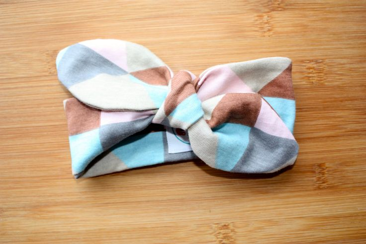Top knot headband pastel geometric fabric, baby headband, headwear, knotted headband by CrazyLikeFoxShop on Etsy