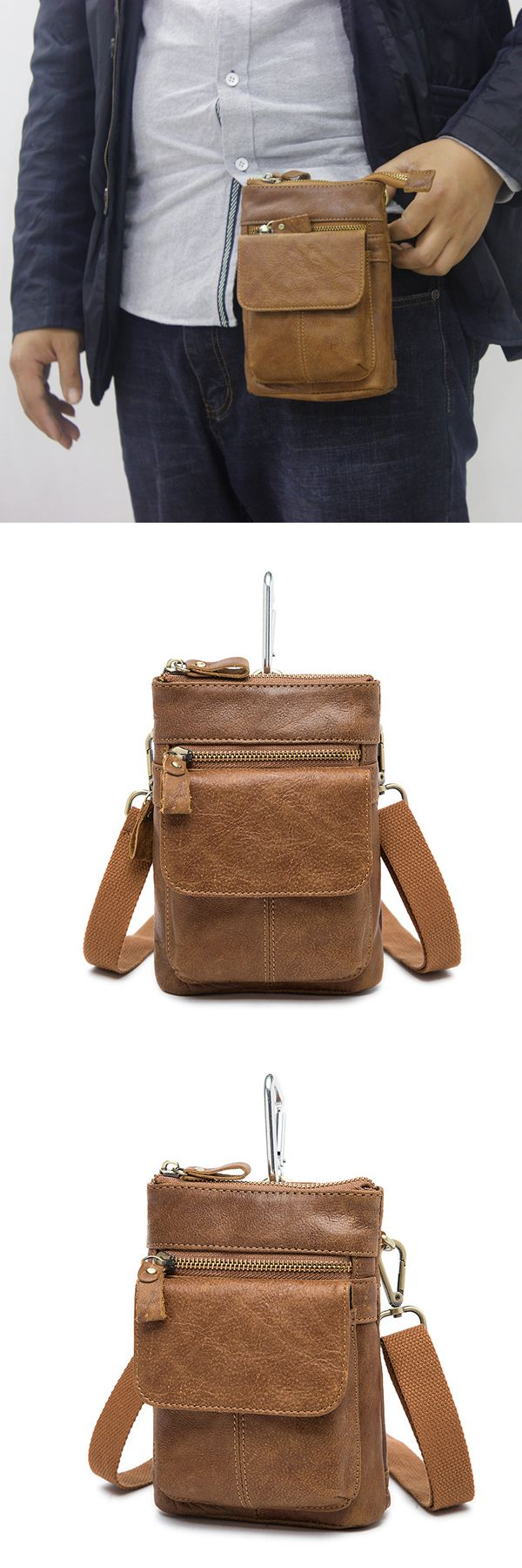 Male Genuine Leather Waist Bag Powerbank Phone Waist Pouch Vintage Small Crossbody Bag