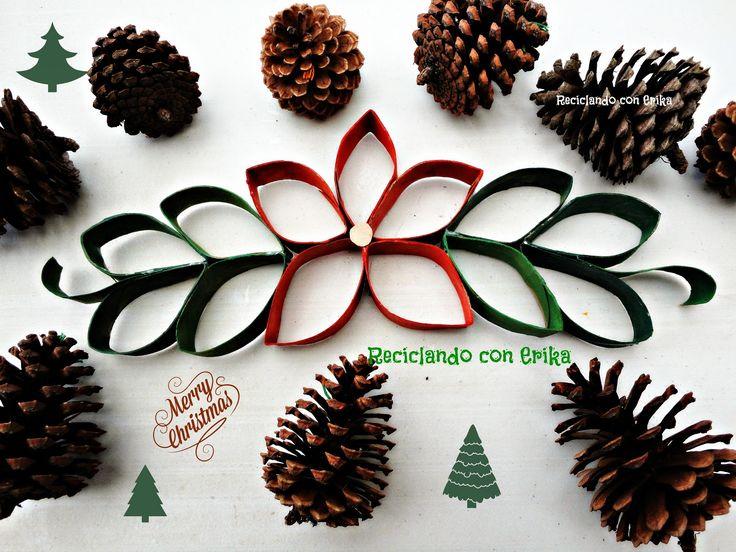 Reciclando con Erika : Flor de Pascua o Nochebuena de tubos de cartón