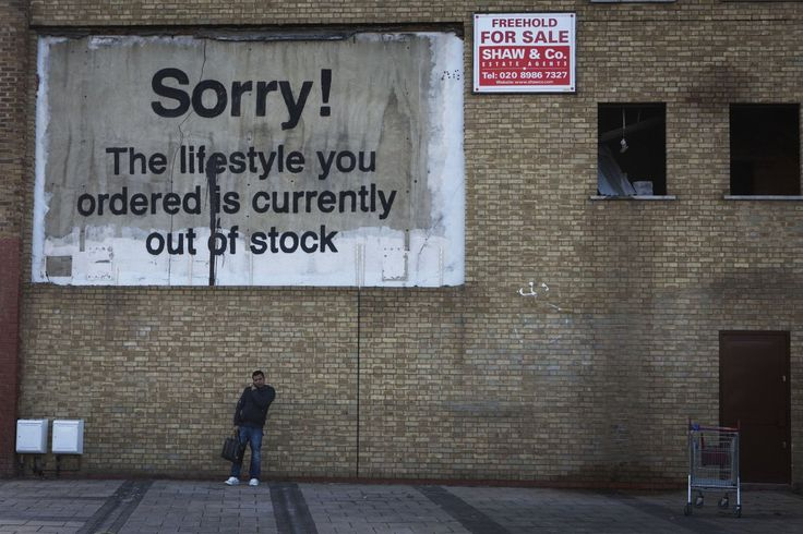 Banksy. This piece, one of his larger ones, skewers gentrification in his native England.