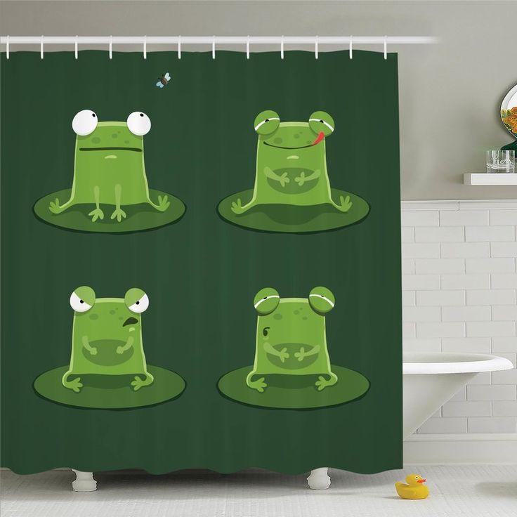 Ambesonne Kids Room Decor Frogs in Pond Shower Curtain Set | Wayfair