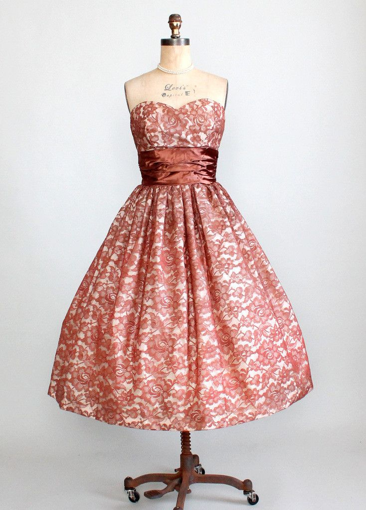 Vintage 1950s Strapless Brown Lace Party Dress