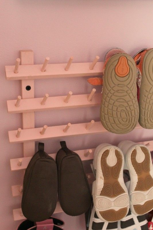 Great Idea for the DUMP area ALPTLs DIY Baby Shoe Rack Featured on HGTVCOM Such a good