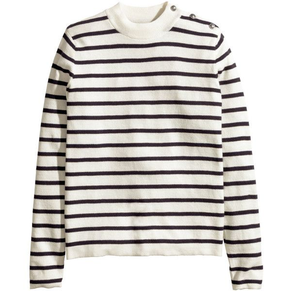 H&M Fine-knit jumper (315 SEK) via Polyvore featuring tops, sweaters, white top, off one shoulder sweater, button sweater, white long sleeve sweater and fine knit sweater