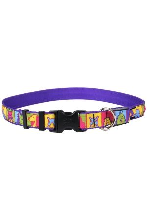 Orion Pop Art Dogs  LED 🐶  Dog Collar - Free Shipping @ $50  - LED lit adjustable buckle collar - Purple with cute dog faces  - 3 modes - fast, slow & constant on - USB rechargable #LEDcollars #popartdog #popart