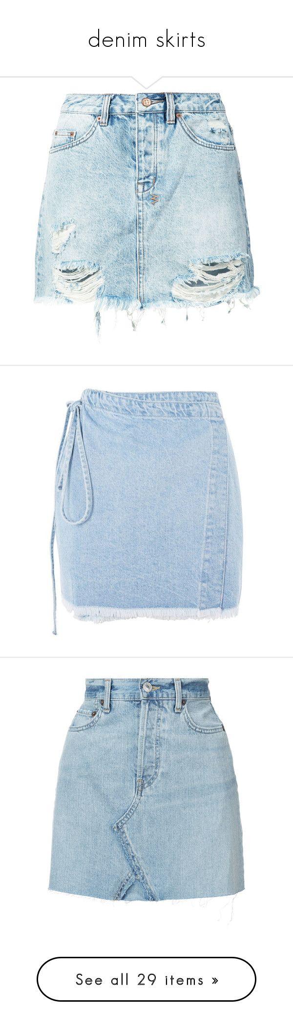 """""""denim skirts"""" by mrstomlinson974 on Polyvore featuring skirts, blue skirts, denim skirt, ksubi, blue denim skirt, knee length denim skirt, mini skirts, denim wrap skirt, long denim skirts and blue wrap skirt"""