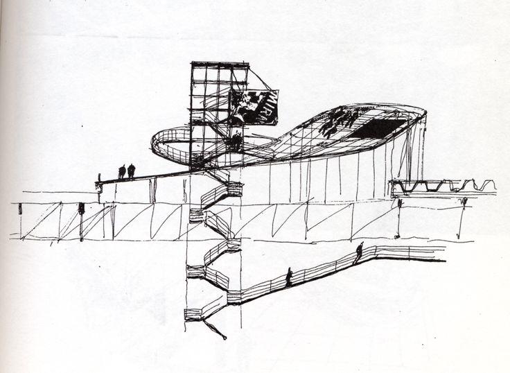 Dessins de Bernard Tschumi pour le projet du Fresnoy