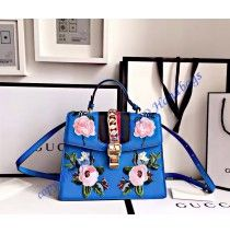 Gucci Sylvie embroidered leather top handle bag GU431665FL-blue
