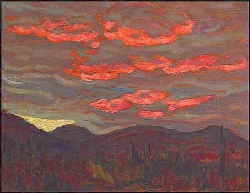 """Sunset, Algoma,"" Alexander Young Jackson, oil on panel, 8.25 x 10.5"", private collection."