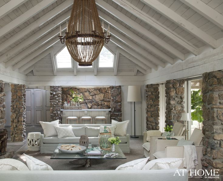Love it all: Ceilings Beams, Lakes House, Living Spaces, Livingroom, Lakeside Lodges, Interiors Design, Living Room, Stones, Transitional Home