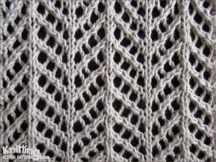 Pretty Arrowhead Lace pattern fits for many cool projects! | knittingstitchpatterns.com