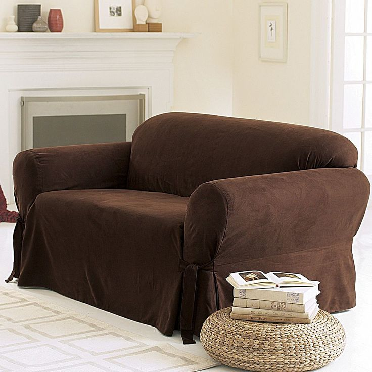 Sure Fit Faux-Suede Loveseat Slipcover, Brown