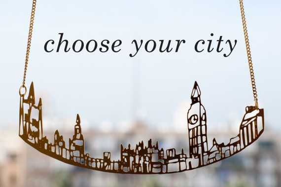 Personalized Cityscape Necklace, Personalized Jewelry, City Skyline, Statement Necklace, Architectural Jewelry