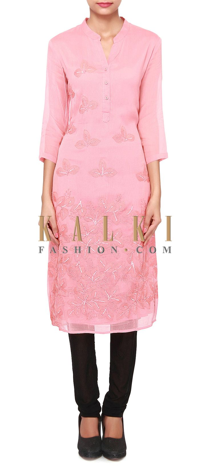 Buy Online from the link below. We ship worldwide (Free Shipping over US$100). Product SKU - 305857.Product Link - http://www.kalkifashion.com/sand-pink-kurti-adorn-in-thread-and-sequin-embroidery-only-on-kalki.html