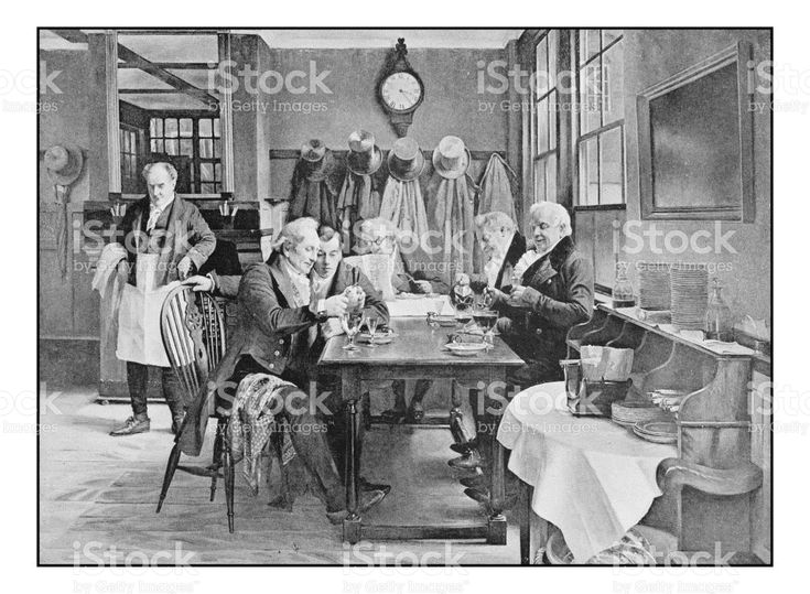 Antique photo of paintings: At the restaurant royalty-free stock vector art