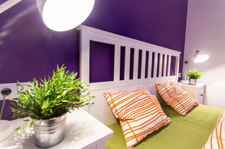 Purple-white-green-orange combination bedroom / Budapest downtown apartment renovated and furnished by www.towerassistance.com