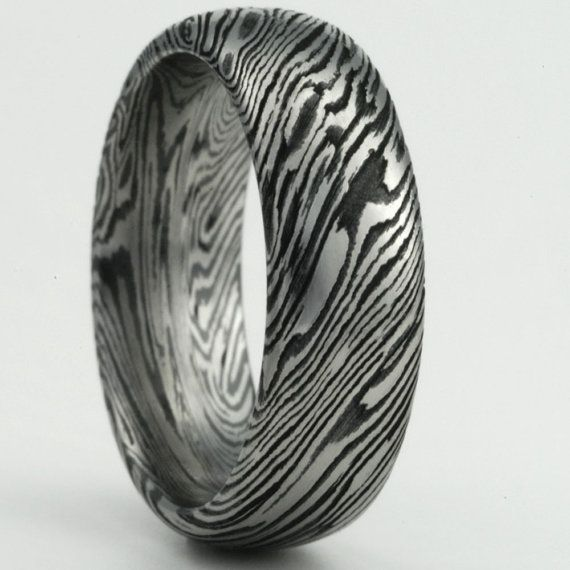 Customize Your Own Mokume Gane Mens Or Womens Wedding Band In Titanium And Black Zirconium