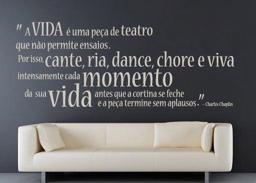 Textos - Chaplin - A vida é um teatro - Decoração em vinil Autocolante decorativo e Papel de parede