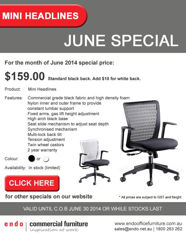 Mini Headlines Office Chairs. On sale for the month of June http://endoofficefurniture.com.au/products/office-chairs-seating/task-and-clerical-desk-chairs/mini-headlines #officechairs #officefurniture