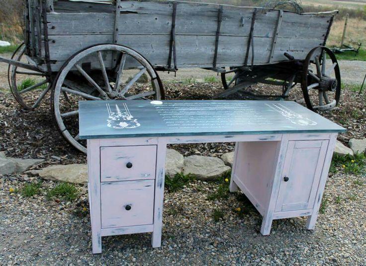 Boring ikea desk turned Funky girly desk www.albertadames.ca