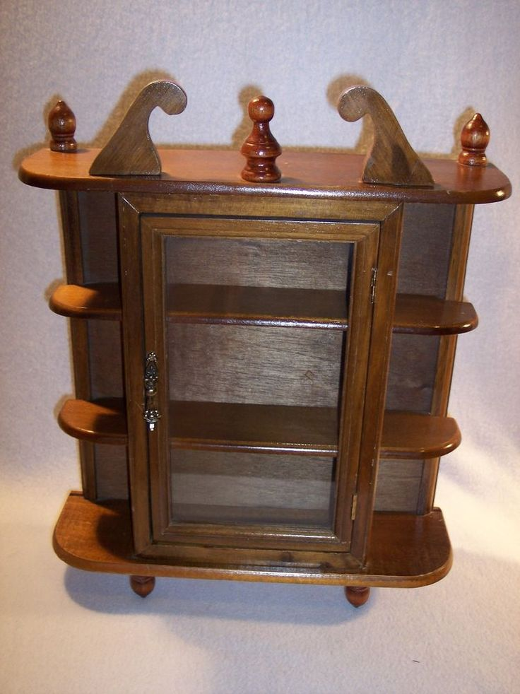 Details About Vintage Wood 16 Quot Curio Cabinet Display