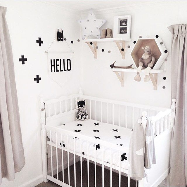 One cute nursery featuring my Batman Softie! Loving the monochrome + blush tones  pic via @charlieandjae . . . . #worldwideshipping #maikonagao #kidsprint #monochromekids #nursery #nurserydecor #babyshower #baby  #milestonecards #girlsroom #shopsmall #nzmade #superhero #batman #boysroom
