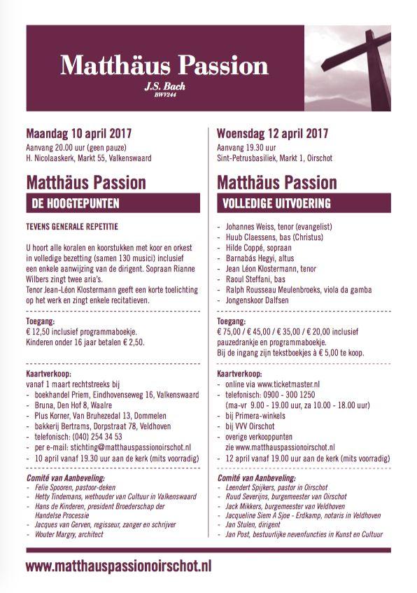 Kaartverkoop en prijzen Matthaus Passion van J.S. Bach.  12 april 2017 in #oirschot  10 april 2017 in #valkenswaard #mattheus #passie #barok