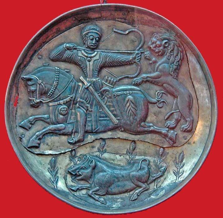 Dish with hunting scene, Sasanian c.8th Century or Khorosanian