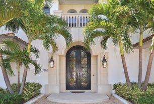 Traditional Front Door with Concrete Balustrade, Borano Custom Door, exterior stone floors, exterior tile floors, Raised beds
