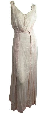 Pretty Pink Cotton Striped Gown w/ Lace circa Early 1900s - Dorothea's Closet Vintage