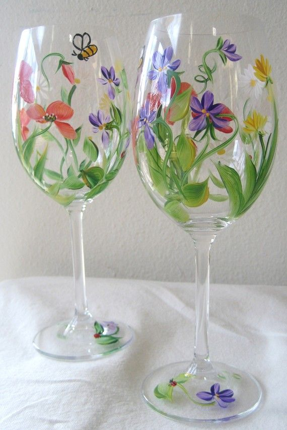 handpainted wildflower wine glass, set of four, shower gift,birthday gift idea