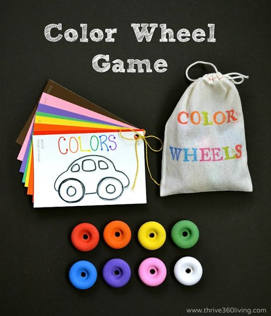 A Fun Color Matching Game...you could put these color cards on a piece of wood with 2 pegs where the wheels go, and have the child place the wheels on the pegs to work on fine motor skills, as well as colors!