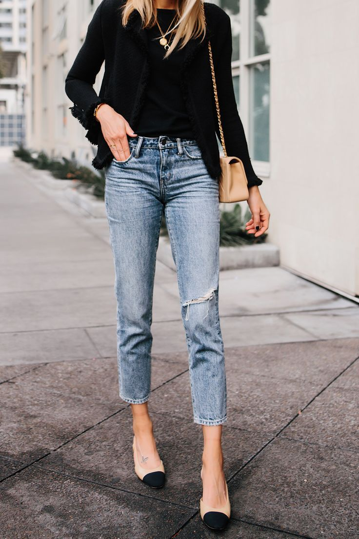 555221bf20 Woman Wearing Black Tweed Relaxed Jacket Jeans Outfit Chanel Tan Diana  Handbag Chanel Slingback Shoes Fashion Jackson San Diego Fashion Blogger  Street Style