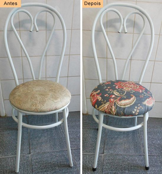 DIY How to reform kitchen chair  See here: http://customizando.net/como-reformar-cadeira-de-cozinha/