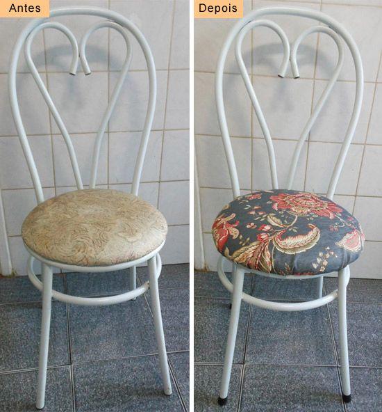 DIY How to reform kitchen chair  See here: http://customizando.net/como-reformar-cadeira-de-cozinha/