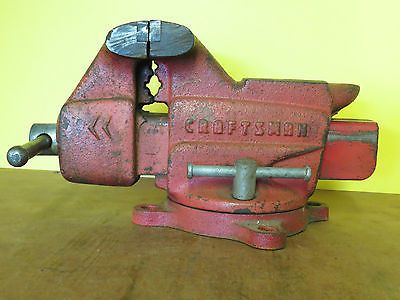 Vintage Red Craftsman Swivel Bench Anvil Vise No 506